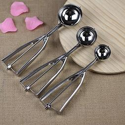 3 Size Stainless Steel Ice Cream Scoop Spoon Spring Handle M