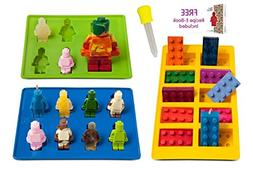 Lucentee Silly Ice Cube Trays Candy Molds, Building Bricks a
