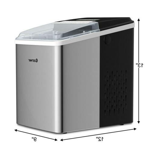 26 lbs/24 H Self-Clean Stainless Steel Ice Small