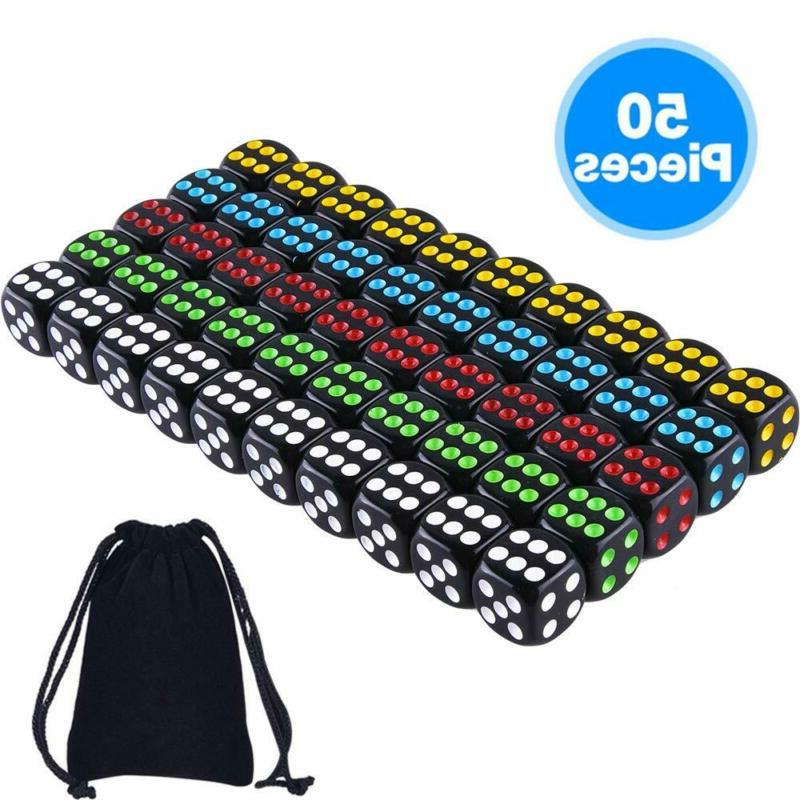 Austor 50 Pcs Dice Set 6 Sided Rounded Edges Black Dice With