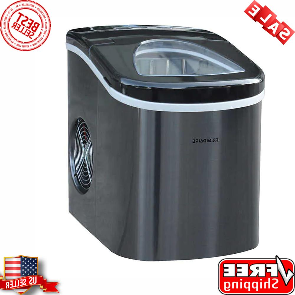 portable self cleaning compact ice maker black