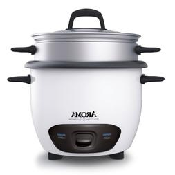 Aroma Pot-Style Rice Cooker and Food Steamer, 6-Cup, White,